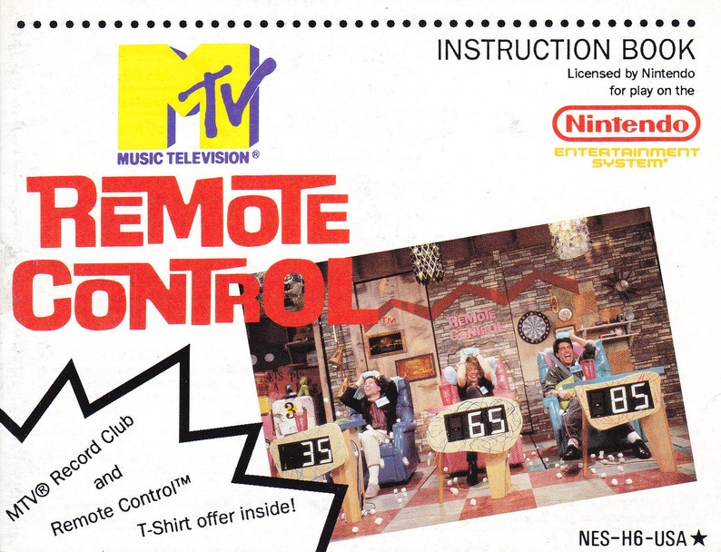 MTV Remote Control  Nintendo NES  Original Manual Only  image 0