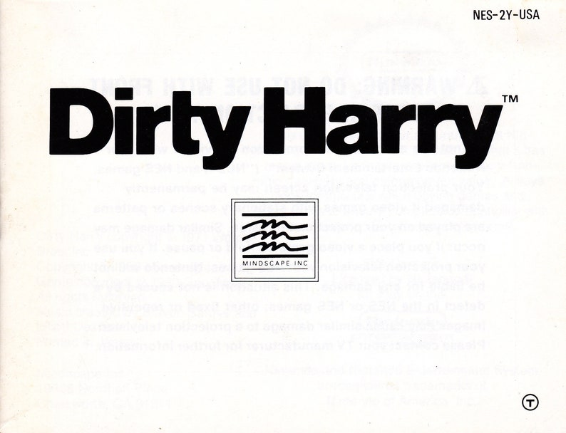 Dirty Harry  Nintendo NES  Authentic Original Manual Only  image 0