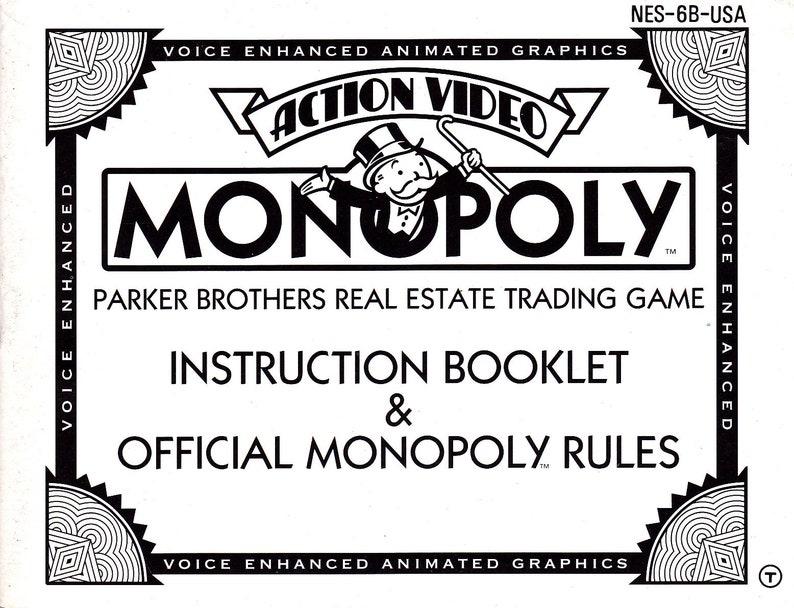 Monopoly  Nintendo NES  Original MANUAL ONLY  Authentic  image 0