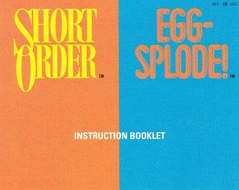 Short Order/Eggsplode - Nintendo NES - Authentic Original Manual Only - Instruction Booklet