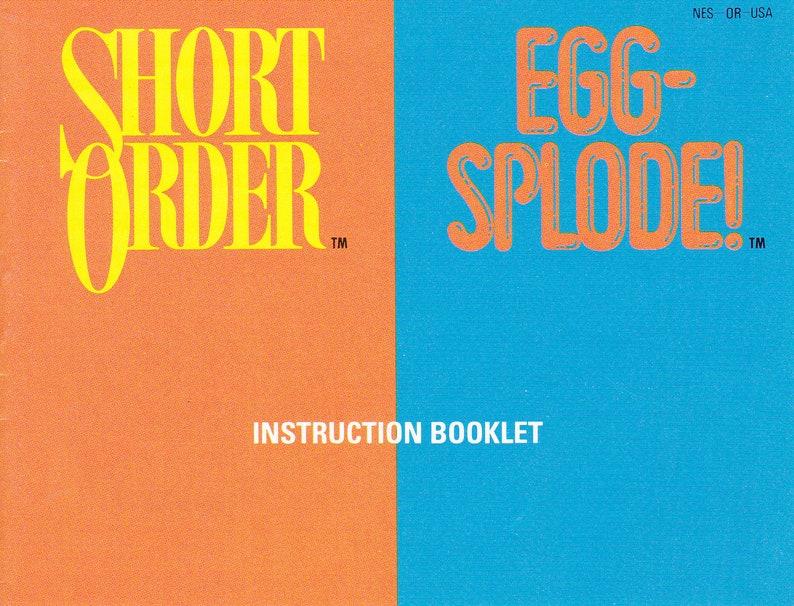 Short Order/Eggsplode  Nintendo NES  Authentic Original image 0