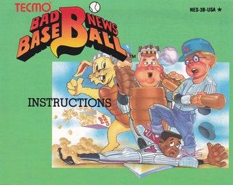 Bad News Baseball - Nintendo NES - Original MANUAL ONLY - Authentic - Instruction Booklet