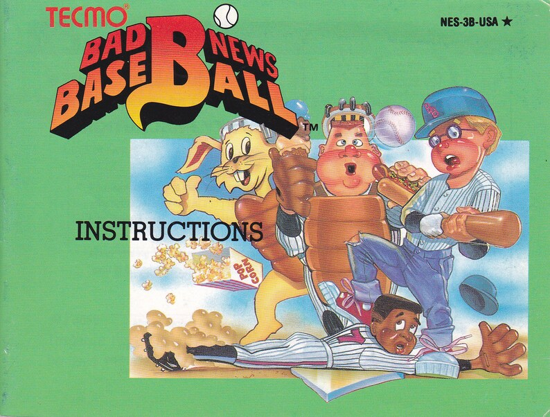 Bad News Baseball  Nintendo NES  Original MANUAL ONLY  image 0