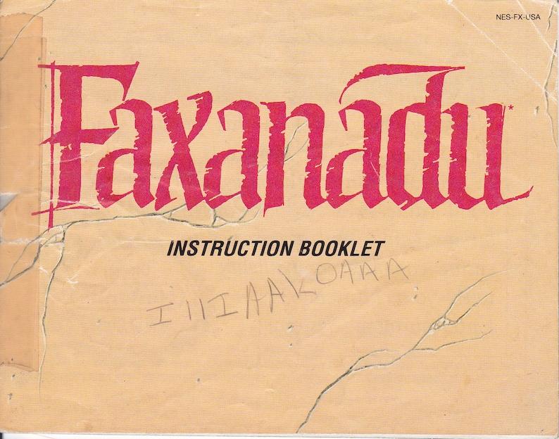 Faxanadu  Nintendo NES  Original MANUAL ONLY  Authentic  image 0