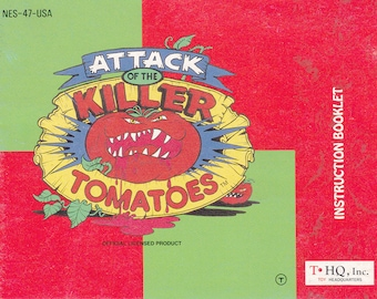 Attack of the Killer Tomatoes - Nintendo NES - Original MANUAL ONLY - Authentic - Instruction Booklet