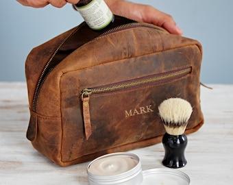 e953997d2564 Personalised Buffalo Leather Wash Bag - Leather Washbag - Toiletry Bag - Personalised  Wash Bag - Travel Bag - Men's Wash Bag - Dopp Kit Bag