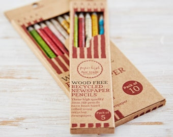 Recycled Newspaper Pencil Set - Set Of Pencils - Pencils In Box - Back To School Gift - Sustainable Gift - Eco-Friendly Pencils - No Wood