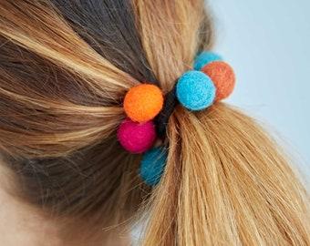Felt 9 Ball Hair Band / Bobble - Colourful Hair Tie - Felt Hair Accessory - Hair Scrunchie - Back to School - Fun Hairband - Hair Bobble