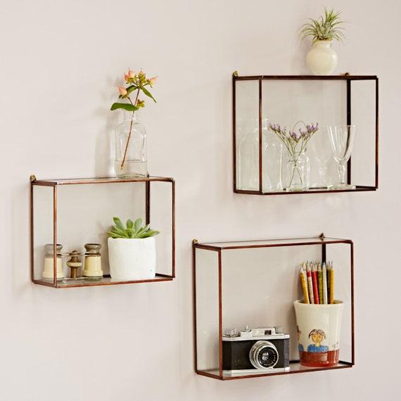 new arrival bbc34 90b22 Hanging Glass Wall Shelf - Box Shelves - Glass Shelving - Rectangle Shelves  - Wall Mounted Storage - Box Shelf - Decorative Shelf - Recycled