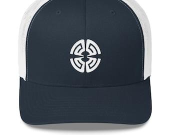 7ca5614cc26e4 PG Circle Logo White Stitch Trucker Cap Perpetual Groove Hat