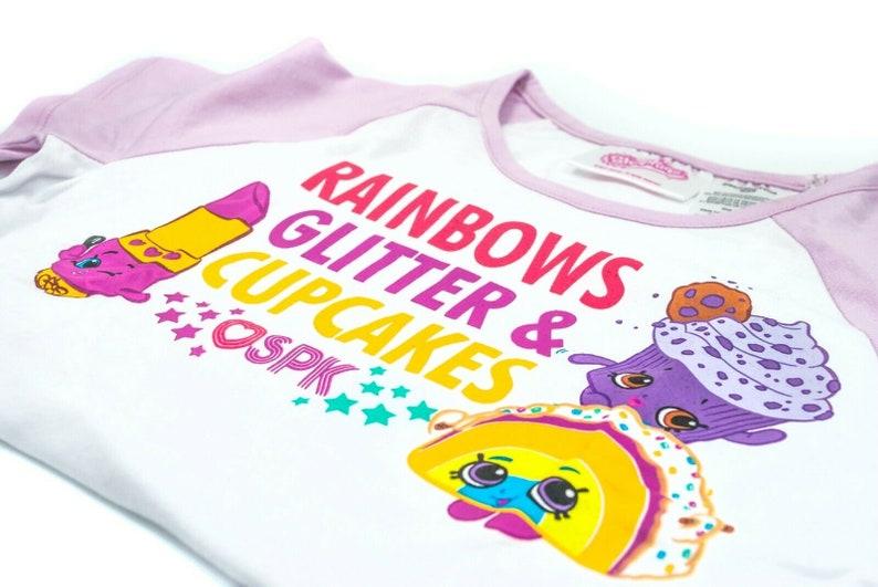 Shopkins Raglan Rainbows Glitter /& Cupcakes Graphic Print Short Sleeve T-Shirt