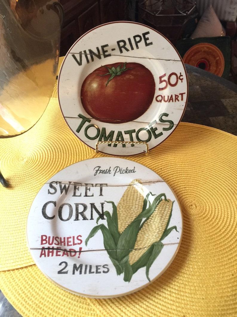 2 Stoneware Salad Plates The Sakura Table Farm-stand Vegetables-David Carter Brown