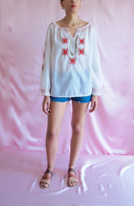 70's Greece Peasant Blouse / Vintage Peasant Embro