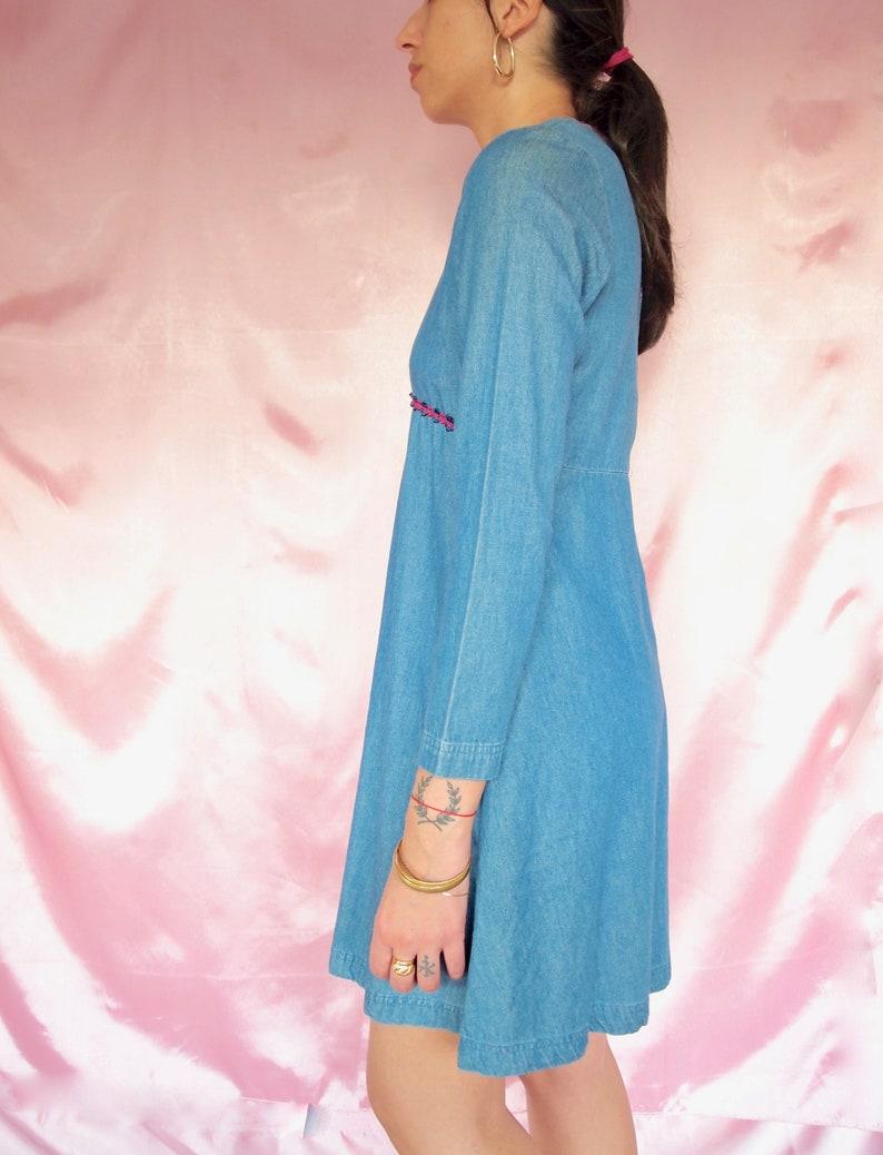 Vintage Denim Long Sleeve Dress 70s Vintage Dress Hippie Boho Dress Short Dress Small