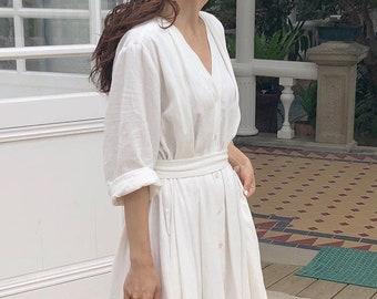Casual Linen Dress, Midi Linen Dress, Midi Dress With Belt , White Linen Button Dress, All Colors Midi Dress, Loose Fit Midi Dress, Gift