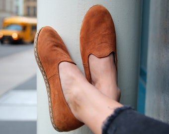 Women Nubuck Brown Leather Handmade Shoes | Healthy Stylish | Natural Comfortable Casual Slippers | Flat Slip Ons | Loafers | Moccasin