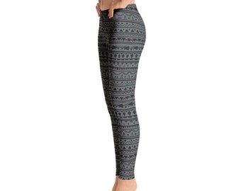 2927c57506238 Opaque / Squat Proof Boho Style Geometric Pattern Low Rise Ankle Length  Leggings - Black and Grey