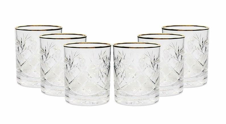 Neman Crystal 11 Oz Set of 6 Lead Crystal Whiskey Glass with Gold Rim