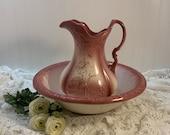Vintage Ceramic Wash Basin Pitcher