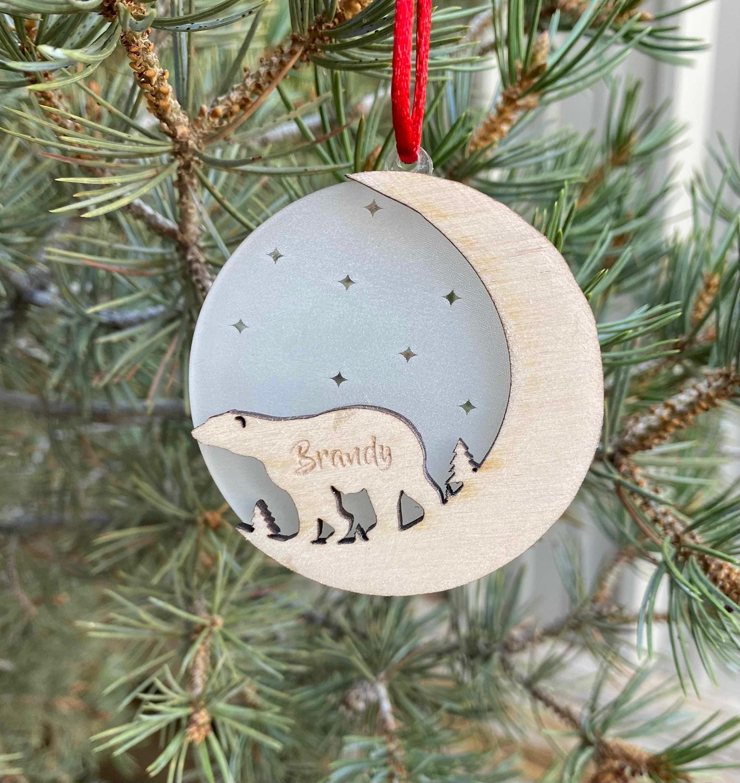 Laser Engraved Personalised Name Decoration Personalised Christmas Bear Tree Decoration Polar Bear Acrylic Gift