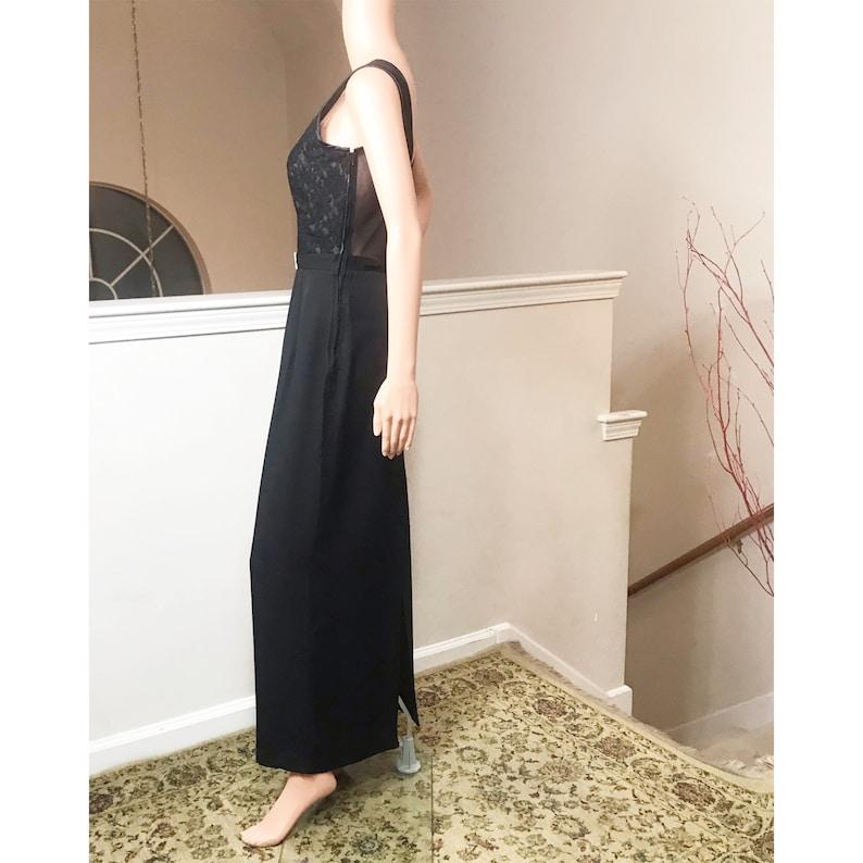 Scott McClintock 1980\u2019s Black Lace Top Gown