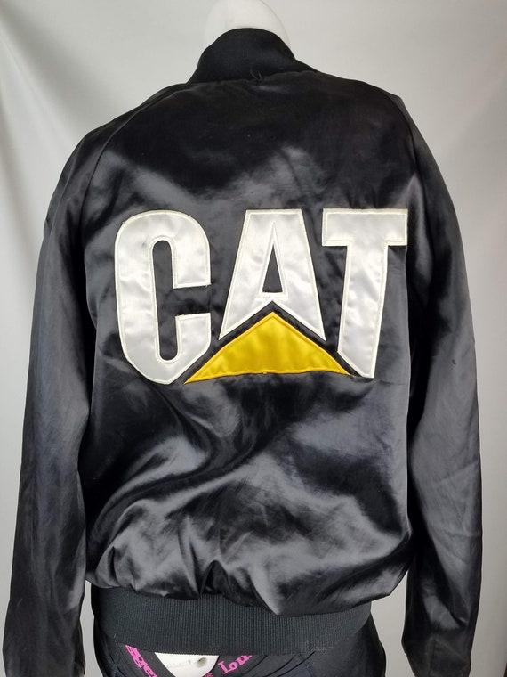 Cat Caterpillar Diesel Engines Vintage Black Satin Jacket Medium