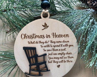 Christmas in heaven memorial Christmas ornament— loved one—