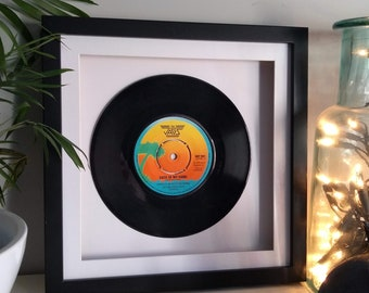 """Framed Vinyl Record The Jags 'Back Of My Hand 7"""" 1979 Sustainable Gift Idea - Birthday; Wedding; Anniversary; Father's Day; Present"""