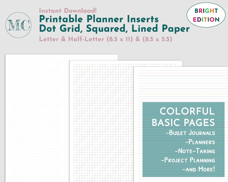 graphic regarding Printable Bullet Journal Paper identified as Printable Bullet Magazine Paper, Printable Protected Paper, Printable Dot Grid Increase, Dot Grid Planner, Graph Paper Printables