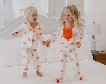 Halloween Pajamas, Fall Pumpkin PJs, Personalized Pajamas, Family Matching PJs, Baby, Toddler, Kids, Adult