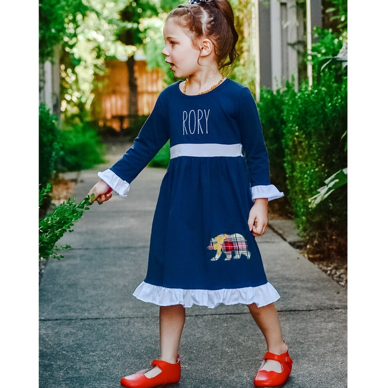 Long Sleeve Christmas Outfit Dress Winter Bear Plaid Applique Embroidered Trio Navy Blue Ruffle Dress Toddler Girl Christmas Dress