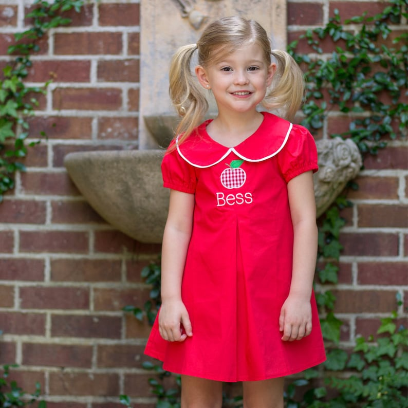 Back To School Outfit Girls Back To School Dress Personalized Back To School Dress Red Peter Pan Collar Dress Apples Toddler Girls
