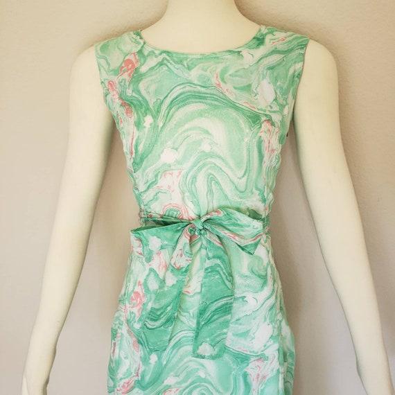 vintage dress green dress swirl dress psychedelic