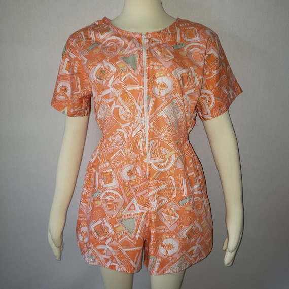 vintage romper with pockets orange romper abstract