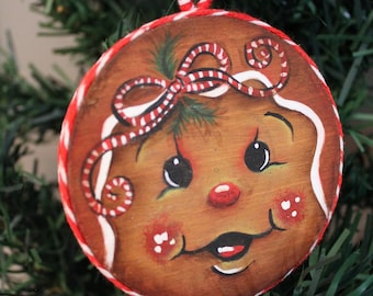 Hand painted wood disc Christmas ornament