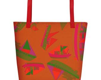 MAGNOLIA BEACH BAG  One of a kind bag  Overnight bag  Autumn decor  Bridesmaid tote  Fall wedding decor  Gift for her