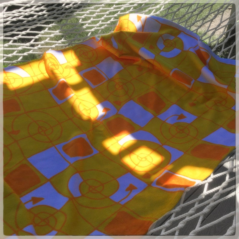 Yellow Lines & squiggles Towel / Sublimation Beach Towel / A image 0