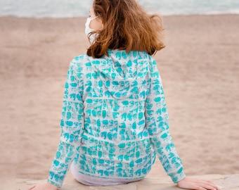 WOBBLY TURQUOISE Hooded SWEATSHIRT / Gifts for her / Gift for women / Womens sweatshirt / Best friend gift / Sweatshirt