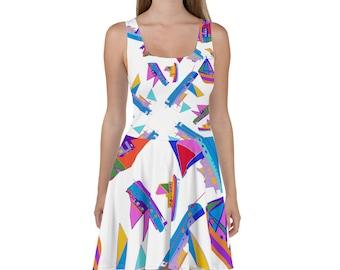 COLORFUL BOATS DRESS / Modern Summer / Sun Dress /  Summer decor / Fall wedding decor / Bridesmaid dress / Bridesmaid dress / Princess dress