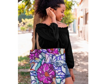 ABSTRACTED RHODODENDRON beach BAG / Over night bag / Reusable grocery bag / Tote bags / Travel Bag / Bridesmaid tote / Fall wedding decor