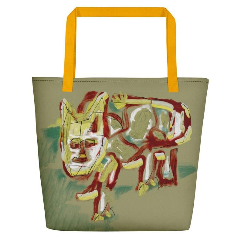 Over night bag Cat tote bag Reusable grocery bag Tote bags image 0