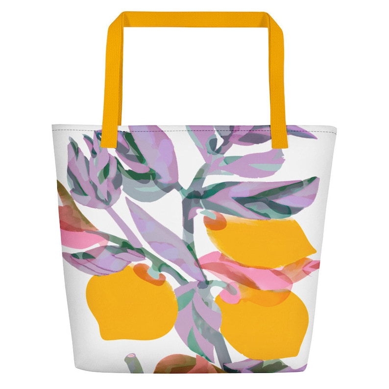 Lemon decor bag Beach bag Over night bag Reusable grocery image 0