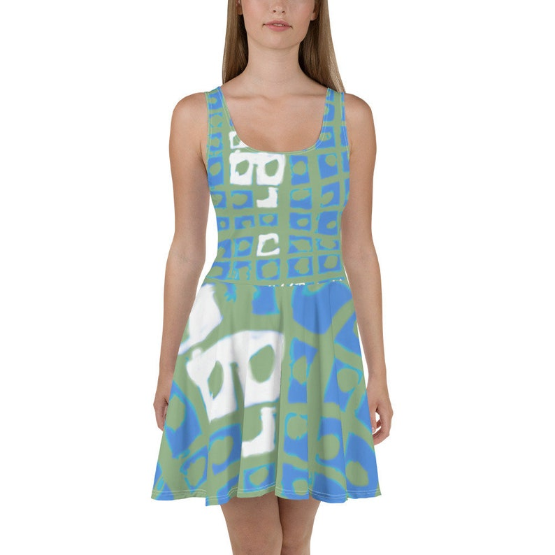 Modern Blue Dress with a Green Square Print / Girls summer image 0