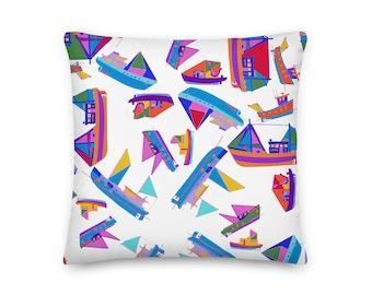 COLORFUL BOATS PILLOW / Cottage decor / Throw pillow / Scandinavian decor  / Modern home decor / Housewarming gift / Cottage decor