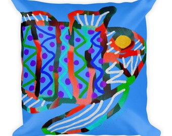 FISH HEAD PILLOW / Home decor / Abstract Art / Beach theme decor /  fish art lover / throw pillow / Housewarming gift / Cottage decor