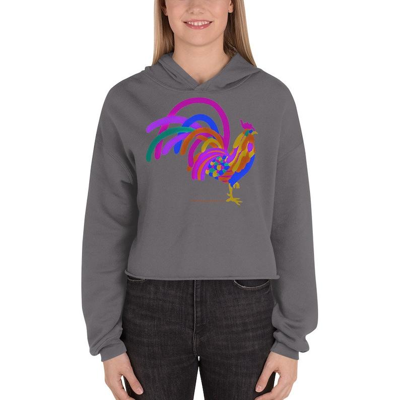 Rooster painting Crop Hoodie / Rooster Sweatshirt / Rooster image 0