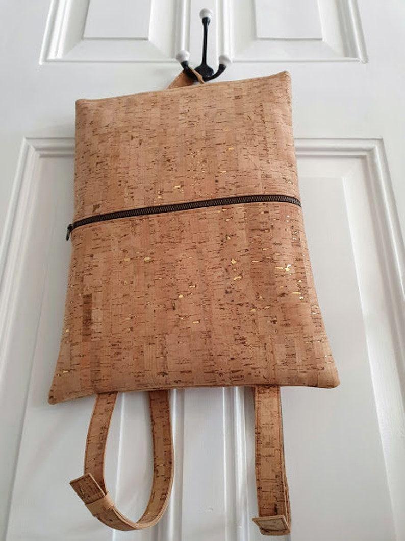 waterproof Handmade Cork Laptop Rucksack  Backpack Cork fabric suitable for Vegans Fun Penguin patterned lining