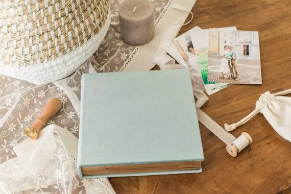 Sea green linen wooden photo box  Wedding photo box  Photo usb box  Oak