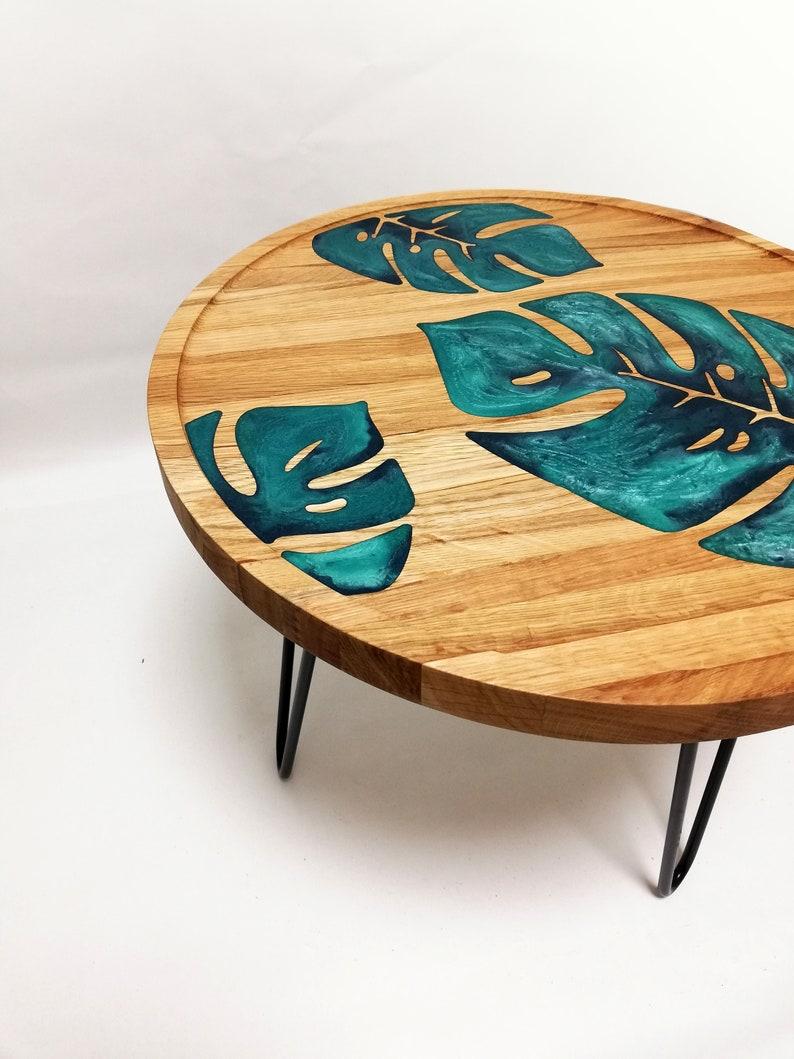 Monstera epoxy resin coffee table top(tea), epoxy resin table, decorative table, modern interior accent