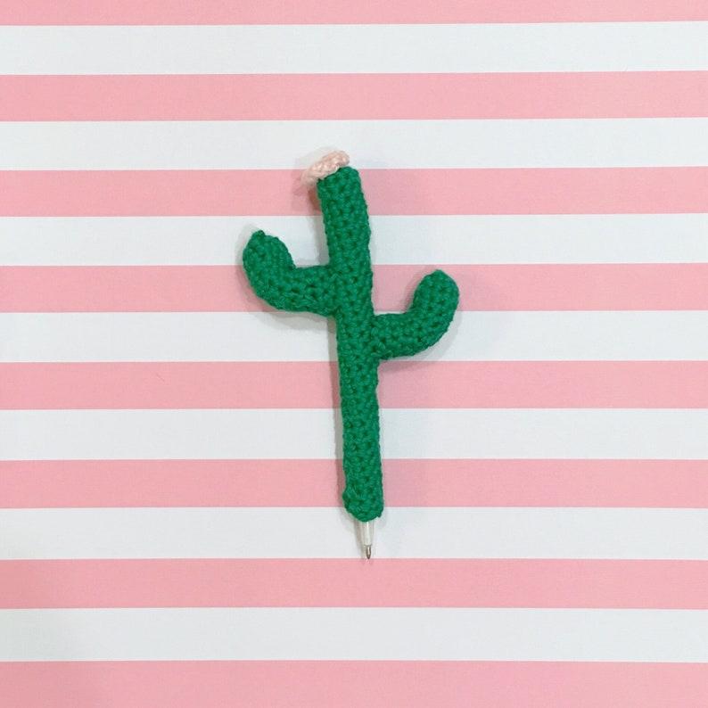 Cactus Pencil Cozy Set of 3 Crochet Green Pink Pen